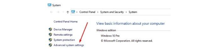Click on advanced setting options and press the performance setting